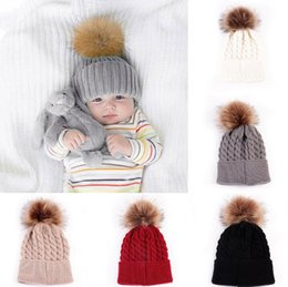 BaBy knit hats colors online shopping - Baby Toddler Kids Boys Girls Knitted Caps Cute Hats Crochet Winter Warm Fur Pom Hat Crochet Cap Colors