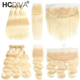 Peruvian Virgin Hair Straight Body Wave With 13*4 Ear to ear Lace Frontal with Baby Hair 613 Blond Hair 3 Bundles with 4*4 Lace Closure on Sale