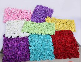 Christmas baCkdrops props online shopping - Artificial Hydrangea Flower Wall Size About cm Creative Wedding Stage Props Silk Rose Tracery Wall Encryption Floral Background