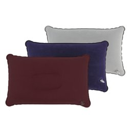 Plane Travel Pillow NZ - Outdoor Air Inflatable Pillow Portable Folding Double Sided Flocking Cushion for Travel Plane Hotel Sleep