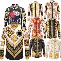 Long goLd downs online shopping - HOT Autumn winter Harajuku Medusa gold camisa hawaiana chain Dog Rose print shirts Fashion Retro floral sweater Men long sleeve tops shirts