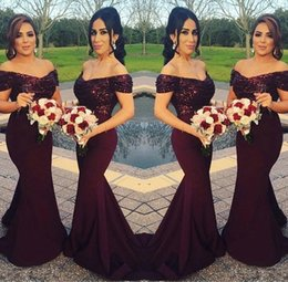 Discount purple red color - Sparkly Burgundy Sequined Mermaid Bridesmaid Dresses 2018 Off the Shoulder Best Wedding Party Dresses Blush Pink Maid of