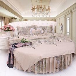 Corner Beds Canada - Luxury Villa Home Round CORNER Bed Bedding Sets cottonDuvet cover sets Brief Morden grey Color Printed Jungle Forest Tree Cotton Bedding kit