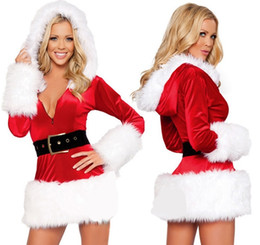 Wholesale free people clothing resale online - Fashion Women Sexy Santa Costumes Christmas Dress Cosplay Female Fancy Dress Costume Performance Dresses Christmas Clothes