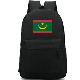online shopping Mauritania flag backpack Lucky country day pack Red green banner school bag Casual packsack Good rucksack Sport schoolbag Outdoor daypack