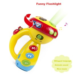 sleep lamp music UK - Baby Multifunction Luminous Flashlight Projection Lamp Toys Sleeping Light-up Spin Toy Color Music Sounds Learning Toy For Kids Q0635