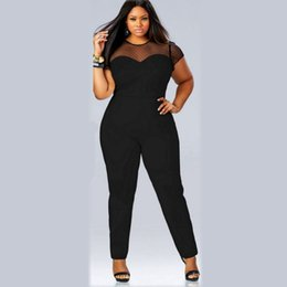 01a6e45310 Women Short Sleeve Casual Jumpsuits Lace Patchwork Women s Sexy Vintage Overalls  Playsuits For big women 4XL Plus Size Clothing