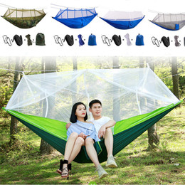 portable folding camp beds 2019 - 260*140cm Portable Hammock With Mosquito Net Single-person Hammock Hanging Bed Folded Into The Pouch For Travel Camping