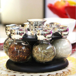 condiments storage 2020 - 6pcs set Ratary seasoning storage spice bottle rack kitchen salt and pepper cruet condiment set condimento containers fo