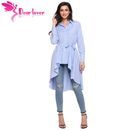 China Dear Lover Stripe Blouse Shirt Women New Fashion Blusas Office Ladies Autumn Long Sleeve Lapel High Low Belted Tunic Top C250364 cheap dear top suppliers