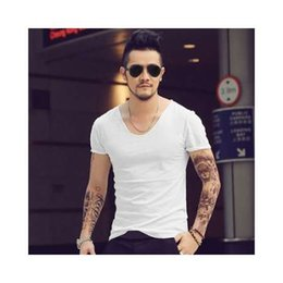 Wholesale Mens T Shirts V Neck all size Brand saints t shirts Hip Hop solid Men Cotton Bamboo Slim Fit Short Sleeve Fitness Tee