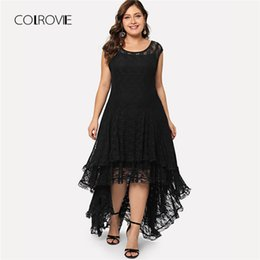 COLROVIE Plus Size Black Backless Dip Hem Layered Floral Lace Dress Ruffle  Summer Dress 2018 Stretchy Asymmetrical Women 7d09289d7