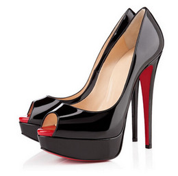 Patent leather Platform sexy shoes online shopping - 14cm Brand women Red Bottoms High Heels Sexy Peep toe Platform Red Sole Shoes Women Pumps High heeled Party Shoes size