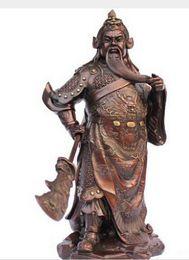 "Antique Warriors UK - Chinese bronze copper Dragon Warrior Guan Gong  Yu standing Statue 14""H Coffee"