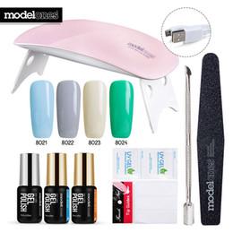 Discount 6w nail uv lamp gel - Modelones DIY Nail Art Practice Nail Gel Tools Set SUNmini 6W Led Lamp Dryer Soak Off 4 Colors UV Gel Base Top Coat In S