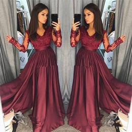 $enCountryForm.capitalKeyWord Australia - Hot Burgundy Lace Prom Dresses 2018 Sheer Vintage Long Sleeves A Line V Neck Formal Party Wear Prom Pageant evening Gowns Arabic