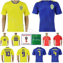 e25a7c346 2018 World Cup Sweden Soccer Jersey Men 10 IBRAHIMOVIC 9 BERG 7 LARSSON  Football Shirt Kits 20 TOIVONEN 4 GRANQVIST Custom Name Number