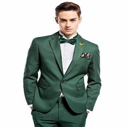 Wholesale Hot Recommend Green Men Wedding Tuxedos Excellent Groom Tuxedos Notch Lapel One Button Men Blazer Piece Suit Jacket Pants Tie
