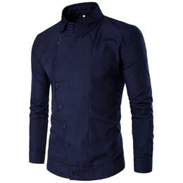 Wholesale tops dinner for sale – custom Europe Style Mature Man Business Casual Shirts Hot Sale Brand Male Shirt Gentleman Dark Blue Dinner Blusa Novelty Button Tops