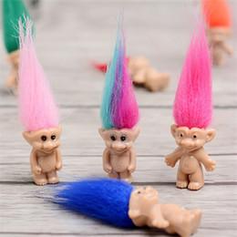 Großhandel Bunte Haar Troll Puppe Familienmitglieder Papa Mama Baby Boy Mädchen Leprocauns Dam Trolle Figur Spielzeug Geschenke