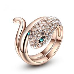 $enCountryForm.capitalKeyWord Australia - Han Feng, Austria crystal snake ring, rose gold blue eyed snake ring, rose ring, creative personality, women's jewelry