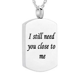 Chinese  I Still Need You Close To Me - Cremation Urn Jewelry Keepsake Necklace & Pendant for Ashes  Funnel Filler Kit (silver square) manufacturers