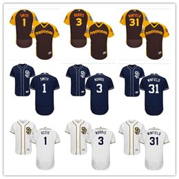 5628e1782 custom Men's women youth Majestic San Diego Padres Jersey #1 Ozzie Smith 3  Derek Norris 31 Dave Winfield Grey White Baseball Jerseys