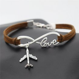 AirplAne brAcelets online shopping - AFSHOR New Personality Aircraft Men s Gift Women s Casual Antique Silver Plane Charms Airplane Pendants Infinity Love Leather Suede Bracelet