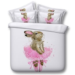 $enCountryForm.capitalKeyWord NZ - 3D dance rabbit bedding sets duvet cover pink bedspreads animal comforter cover Bed Linen Quilt Covers silver bed cover for children kids