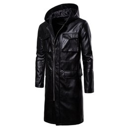 Luxury Motorcycle Jackets UK - 2018 Autumn and Winter New High Quality Long Windproof Leather Motorcycle Mens Designer Leather Jackets Luxury Jacket Size S-2XL