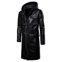 Chinese  2019 Autumn and Winter New Long Windproof Leather Motorcycle Mens Designer Leather Jackets Luxury Jacket Size S-2XL manufacturers
