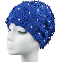 Chinese  Newly Crochet Women Bathing Caps 3D Petals Pearl Ear Protection Swimming Cap for Long Hair Female Free Size Swim Hats 62788 manufacturers