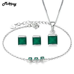 $enCountryForm.capitalKeyWord NZ - MoBuy Trendy Jewelry Sets Natural Gemstone Green Chalcedony 100% 925 Sterling Silver Fine Jewelry For Women Party V008ENH S18101508
