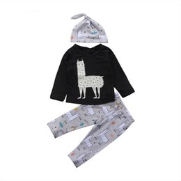 $enCountryForm.capitalKeyWord UK - Newborn Baby Boys Clothing Boy Clothes Toddler Alpaca Pullover Top Long Pants Leggings Hat 3pcs set Outfit Kids Boy Pajamas Suit 0-24M