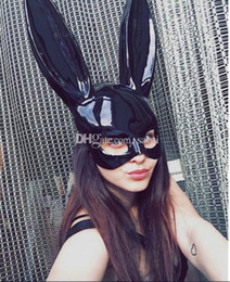 Discount cute halloween costume women - New Women Girl Party Rabbit Ears Mask Black White Cosplay Costume Cute Funny Halloween Mask