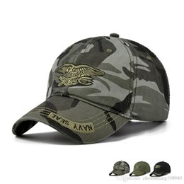 Navy Sun Hat Australia - New Fashion Summer Men's Navy Seal Adjustable Camouflage Cotton Canvas Baseball Cap Sun Hat Outdoors Casual Snapback Caps
