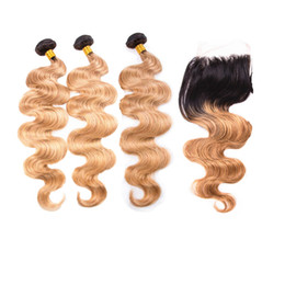 $enCountryForm.capitalKeyWord Australia - Brazilian Honey Blonde Body Wave Hair Weaves With Top Closure Dark Roots 1b 27 Human Hair 3 Bundles With Lace Closure