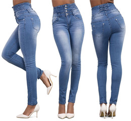 светло-синие тощие джинсы женщины оптовых-Autumn Sexy Skinny Jeans Women High Waisted Stretch Slim Fit Denim Pants Denim Straight Skinny Jeans Black Light Blue S XL