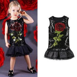 tutus boutique NZ - Hot Sale New Summer Boutique Toddler Girls Kids Rose Flower Black Sequins Dress Sleeveless Casual Party Tutu Tulles Dress