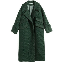 long trench UK - 2018 WOMEN TRENCH Retro Liner White Long green wool coat double-breasted suit collar collar loose wool coat TP016
