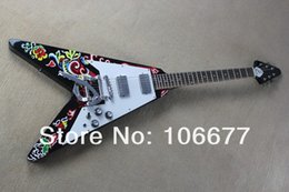 new flying v guitars Canada - 2014 New Arrival High Quality Custom Shop Jimmy 1005 Flying V with Flowers Body Electric Guitar *** Free Shipping