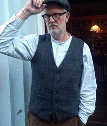 $enCountryForm.capitalKeyWord Australia - 2019 Unique Herringbone Wool Tweed Vest Mens Suit Vests British Style Groom Vest Prom Wedding Waistcoat Mens Dress Vests Slim Fit 7 Style
