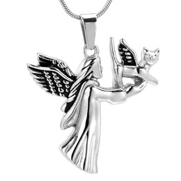 $enCountryForm.capitalKeyWord UK - IJD10036 My Puppy In Heaven Cremation Urn Pendant Stainless Steel Angel Keepsake Jewelry Ashes Urn Pendant for Pet Memorial Gift