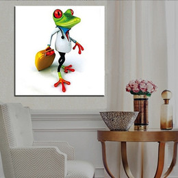 2923e8a98854 Hand-painted Abstract Animal Funny Frog Oil Painting On High Quality Canvas  Modern Home Decor Wall Art a119