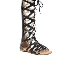 $enCountryForm.capitalKeyWord Canada - large size fashion women sandals new design Flat bottom cross bandage boots summer breathable hollow Open toe sexy sandals black   brown
