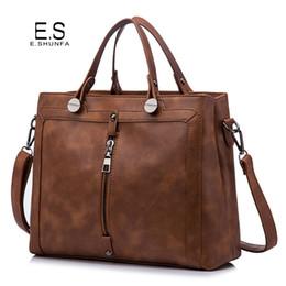 $enCountryForm.capitalKeyWord NZ - Vintage Fashion Handbag Tote Bag 2018 PU Leather Handbags Women Zipper High Quality Casual Shoulder Bag Black Brown Green Gray