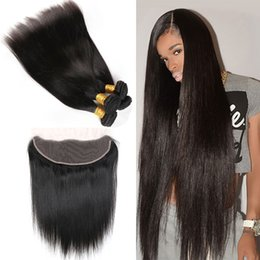 $enCountryForm.capitalKeyWord Australia - 13x4 Full Lace Frintal with Hair Bundles Straight Peruvian Virgin Human Hair Lace Closure with Hair Wefts Peruvian Lace Frontal Bundles