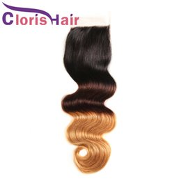 Discount tissage brazilian hair - 1B 4 30 Ombre Lace Closure Body Wave Brazilian Malaysian Virgin Human Hair Top Closures Piece Three Tone Colored Blonde