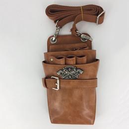 Leather Barber Bags Australia - PU Leather Rivet Hair Scissor Bag Clips Bag Hairdressing Barber Scissor Holster Pouch Holder Case with Waist Shoulder Belt PU Leather Rivet