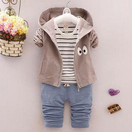 $enCountryForm.capitalKeyWord Australia - spring autumn baby boy clothing sets T-shirt+Hoodie Jacket+pants 3PCS toddler Outfit boys Tracksuit Casual Suit
